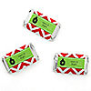 Merry & Bright - Chevron Red and Green - Personalized Christmas Party Mini Candy Bar Wrapper Favors - 20 ct