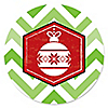 Merry & Bright - Chevron Red and Green - Christmas Party Sticker Labels - 24 ct