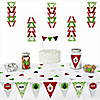 Merry & Bright - Chevron Red and Green - 72 Piece Triangle Christmas Party Decoration Kit