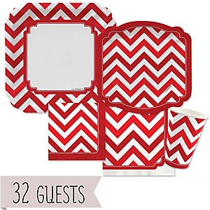 Red Chevron - Baby Shower Tableware Bundle for 32 Guests