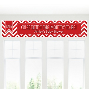 Red Chevron Chevron - Personalized Baby Shower Banner