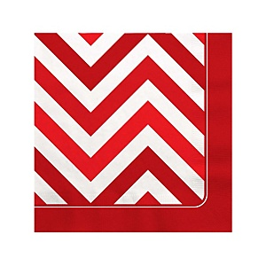 Red Chevron - Baby Shower Beverage Napkins - 16 Pack