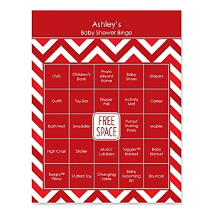 Red Chevron - Bingo Personalized Baby Shower Games - 16 Count
