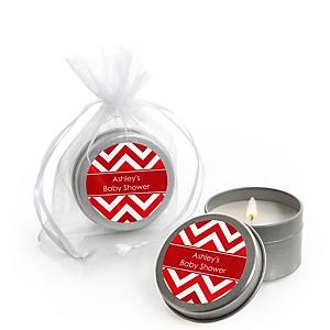 Red Chevron - Candle Tin Personalized Baby Shower Favors