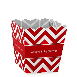 Red Chevron - Personalized Baby Shower Candy Boxes