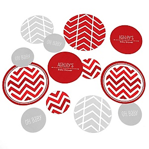 Red Chevron - Personalized Baby Shower Table Confetti - 27 Count