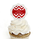 Red Chevron - 12 Cupcake Picks & 24 Personalized Stickers - Baby Shower Cupcake Toppers