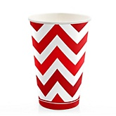 Red Chevron - Baby Shower Hot/Cold Cups - 8 Pack