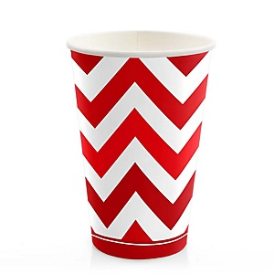 Chevron Red - Baby Shower Hot/Cold Cups - 8 ct