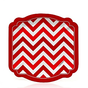 Red Chevron - Baby Shower Dessert Plates - 8 Pack