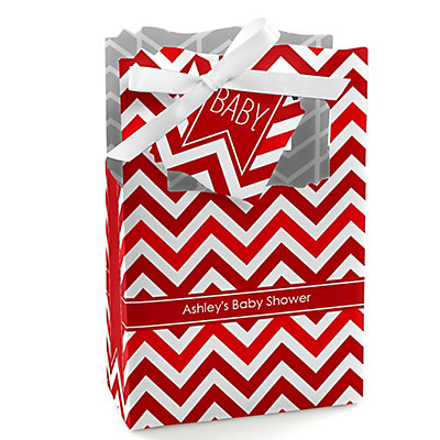 Red Chevron - Personalized Baby Shower Favor Boxes...