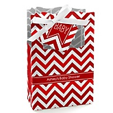 Red Chevron - Personalized Baby Shower Favor Boxes