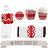 Red Chevron - Do It Yourself 40 Piece Personalized Party Kit
