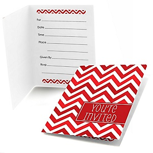 Red Chevron - Fill In Baby Shower Invitations - Set of  8