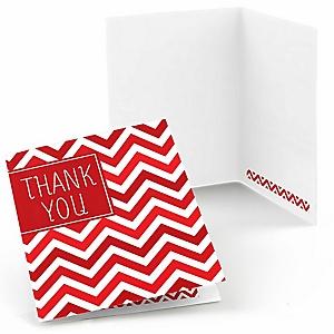 Red Chevron - Baby Shower Thank You Cards - Set of  8