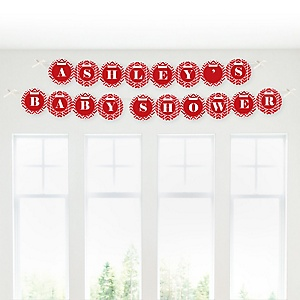 Red Chevron - Personalized Baby Shower Garland Banner