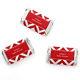 Red Chevron - Personalized Baby Shower Mini Candy Bar Wrapper Favors - 20 ct