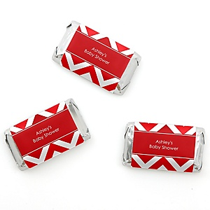 Chevron Red - Personalized Baby Shower Mini Candy Bar Wrapper Favors - 20 ct