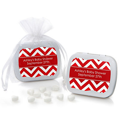 Red Chevron - Mint Tin Personalized Baby Shower Favors...