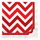 Chevron Red - Baby Shower Luncheon Napkins - 16 ct