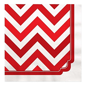 Red Chevron - Baby Shower Luncheon Napkins - 16 Pack