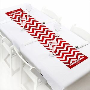 Red Chevron - Personalized Baby Shower Petite Table Runners