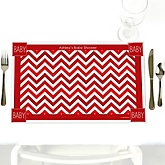 Chevron Red - Personalized Baby Shower Placemats