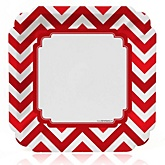 Red Chevron - Baby Shower Dinner Plates - 8 Pack