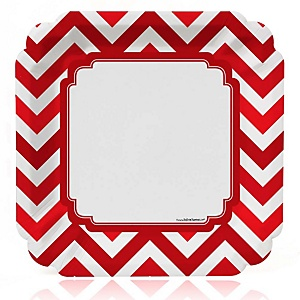 Chevron Red - Baby Shower Dinner Plates - 8 ct