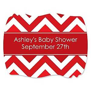 Red Chevron - Personalized Baby Shower Squiggle Sticker Labels - 16 Count