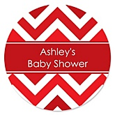 Red Chevron - Personalized Baby Shower Round Sticker Labels - 24 Count