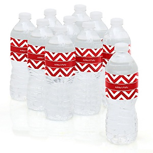 Chevron Red - Personalized Party Water Bottle Sticker Labels - Set of 10