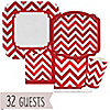 Chevron Red - Birthday Party 32 Big Dot Bundle