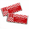 Chevron Red - Personalized Birthday Party Candy Bar Wrapper Favors