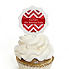 Chevron Red - Personalized Birthday Party Cupcake Pick and Sticker Kit - 12 ct