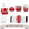 Chevron Red - 40 Piece Personalized Birthday Party Kit
