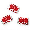 Chevron Red - Personalized Birthday Party Mini Candy Bar Wrapper Favors - 20 ct