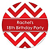 Chevron Red - Personalized Birthday Party Sticker Labels - 24 ct