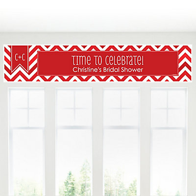 Chevron Red - Personalized Bridal Shower Banners