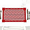 Chevron Red - Personalized Everyday Party Placemats