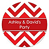 Chevron Red - Personalized Everyday Party Sticker Labels - 24 ct