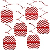 Chevron Red - Baby Shower Hanging Decorations - 6 ct