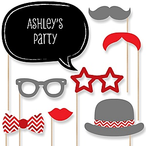 Red Chevron - Baby Shower Photo Booth Props Kit - 20 Props