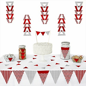 Red Chevron - Baby Shower Triangle Decoration Kits - 72 Count