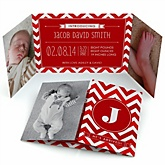 Red Chevron - Photo Birth Announcements