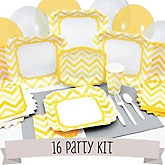 Yellow Chevron - 16 Person Baby Shower Kit