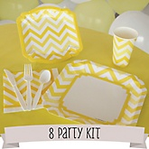 Yellow Chevron - 8 Person Baby Shower Kit