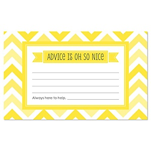 Chevron Yellow - Baby Shower Helpful Hint Advice Cards Game - 18 Count