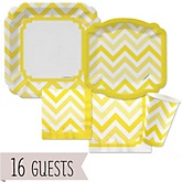 Yellow Chevron  - Baby Shower Tableware Bundle for 16 Guests