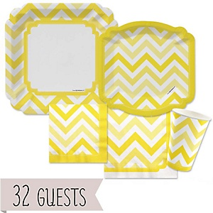 Yellow Chevron - Baby Shower Tableware Bundle for 32 Guests